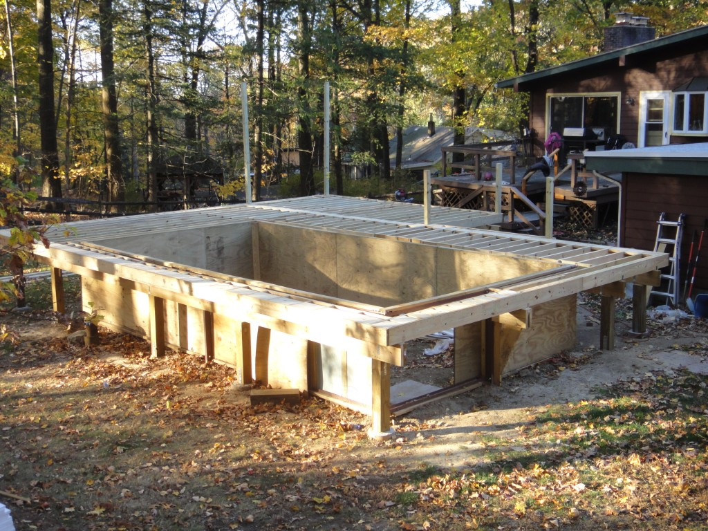 Enclosed Above Ground Poolset-up framing